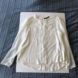Zara white collarless blouse top M
